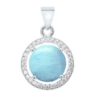 natural larimar and cubic zirconia halo pendant